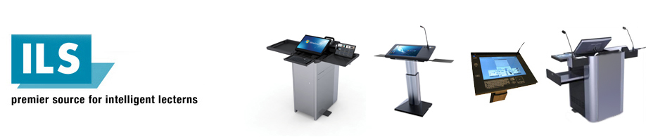 ILS your premier source for intelligent lecterns header, depicting the logo and 4 different lectern models.